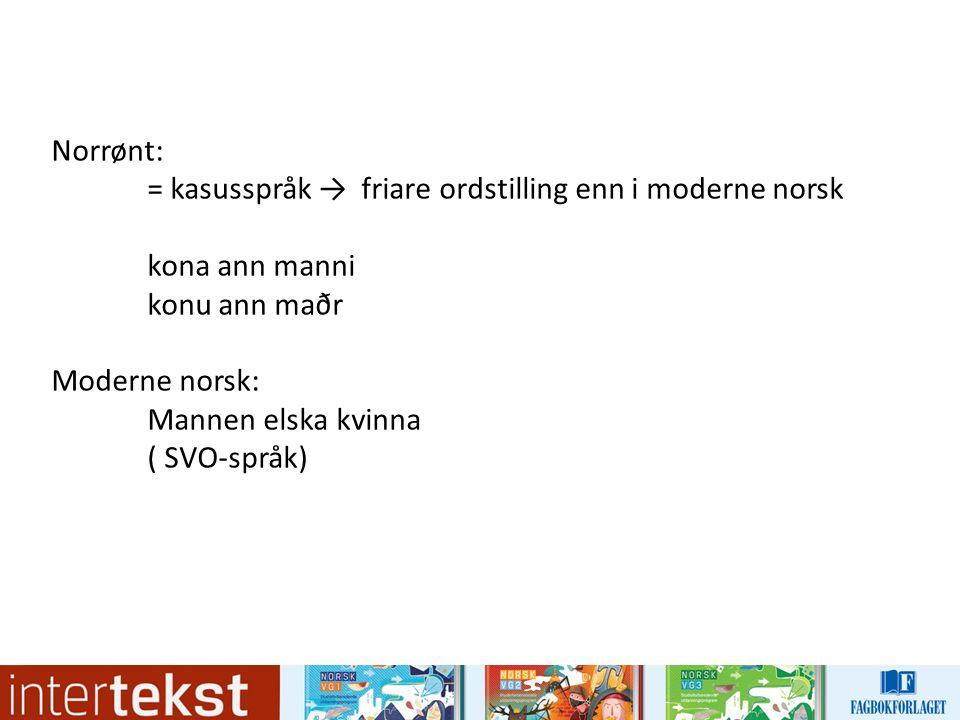 Norrønt: = kasusspråk → friare ordstilling enn i moderne norsk kona ann manni konu ann maðr Moderne norsk: Mannen elska kvinna ( SVO-språk)