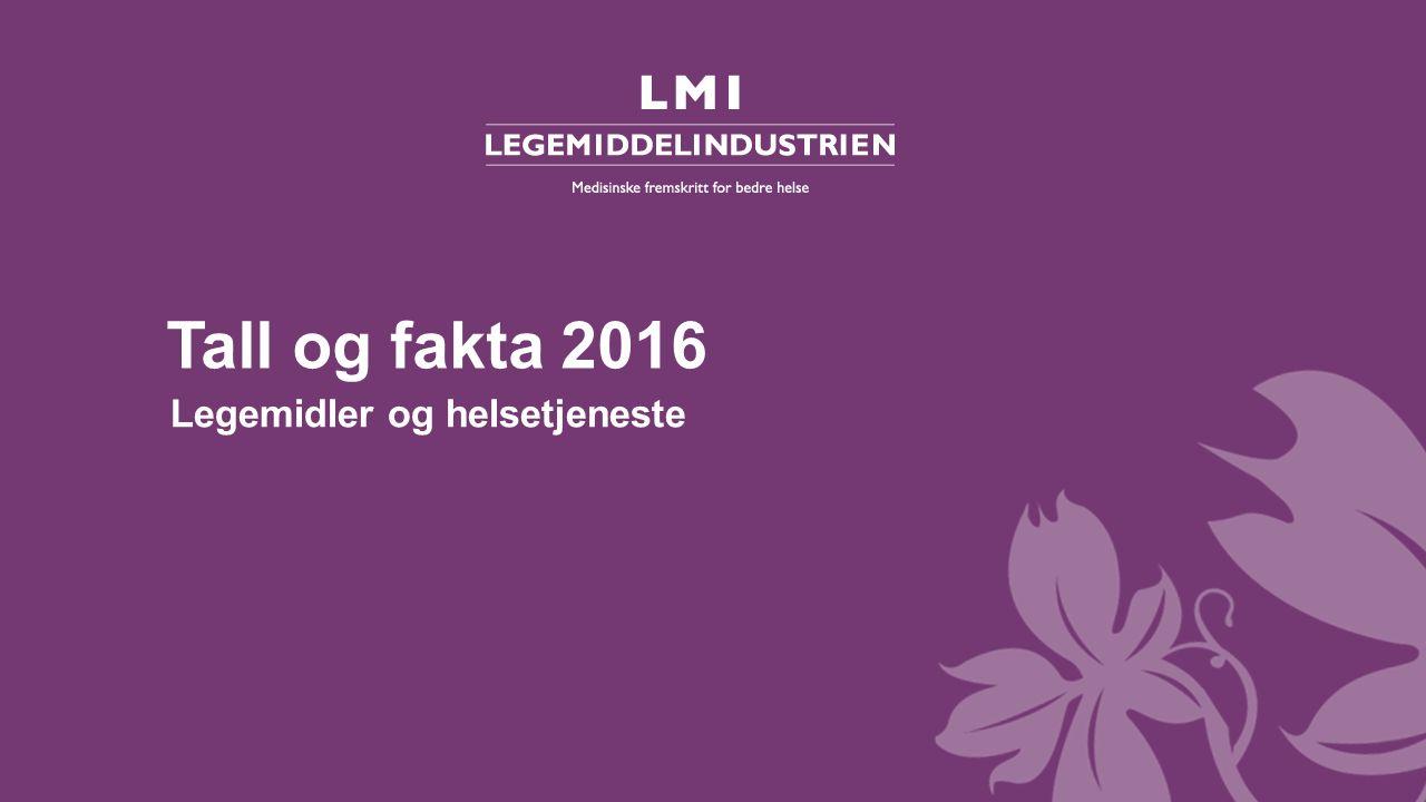 Tall og fakta 2016 – Legemidler og helsetjeneste 5.03 Investering i FoU på ulike terapiområder i Norge