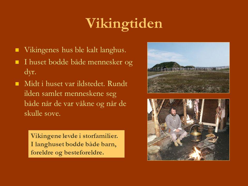 Vikingtiden Vikingenes hus ble kalt langhus. I huset bodde både mennesker og dyr. Midt i huset var ildstedet. Rundt ilden samlet menneskene seg både n