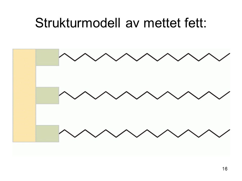 Strukturmodell av mettet fett: 16