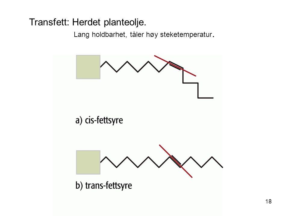 Transfett: Herdet planteolje. Lang holdbarhet, tåler høy steketemperatur. 18