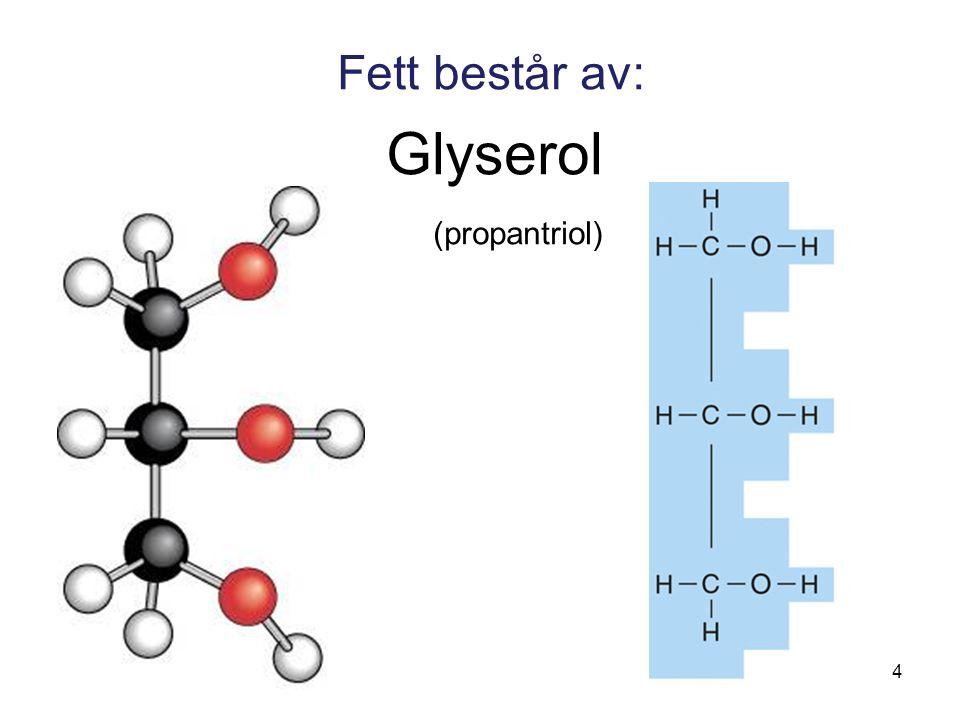 Fett består av: Glyserol (propantriol) 4