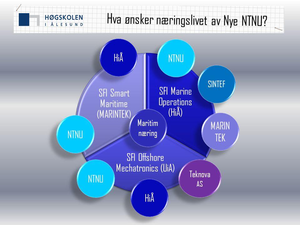 Hva ønsker næringslivet av Nye NTNU? SFI Marine Operations (HiÅ) SFI Offshore Mechatronics (UiA) SFI Smart Maritime (MARINTEK) Teknova AS HiÅ MARIN TE