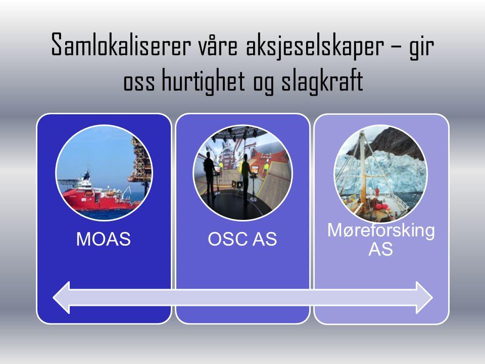 Samlokaliserer våre aksjeselskaper – gir oss hurtighet og slagkraft MOASOSC AS Møreforsking AS