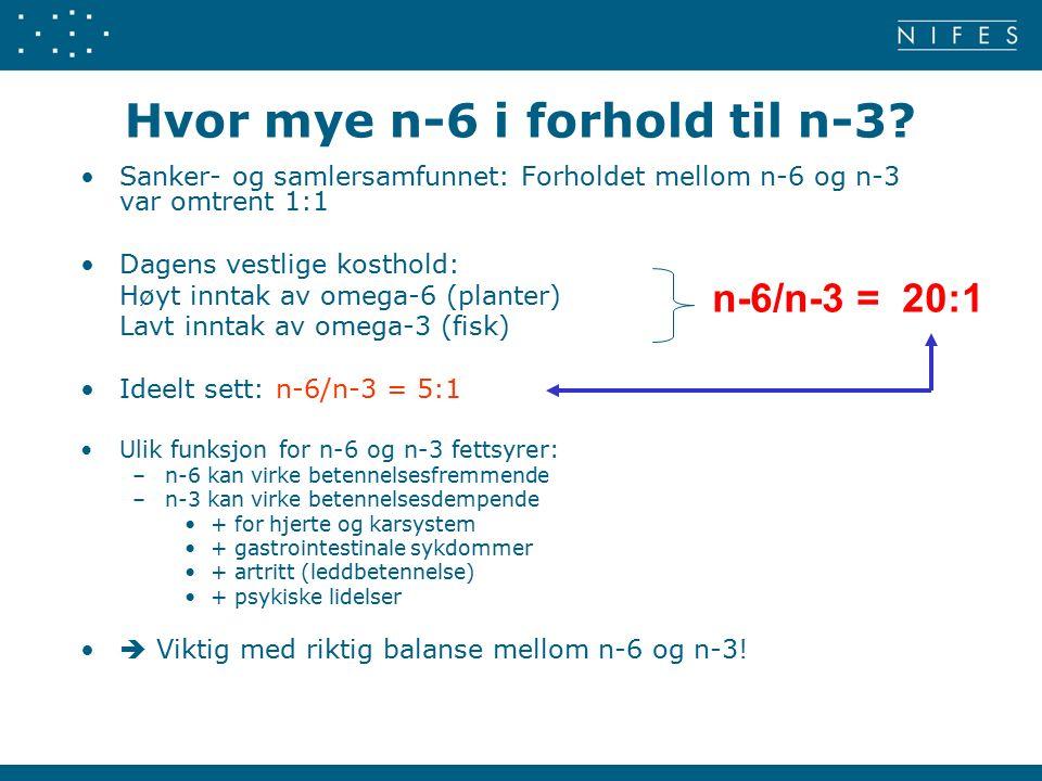 Hvor mye n-6 i forhold til n-3.