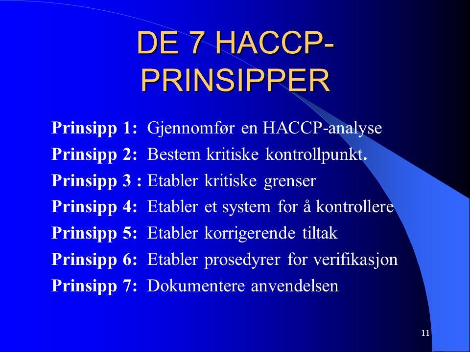 11 DE 7 HACCP- PRINSIPPER Prinsipp 1: Gjennomfør en HACCP-analyse Prinsipp 2: Bestem kritiske kontrollpunkt.