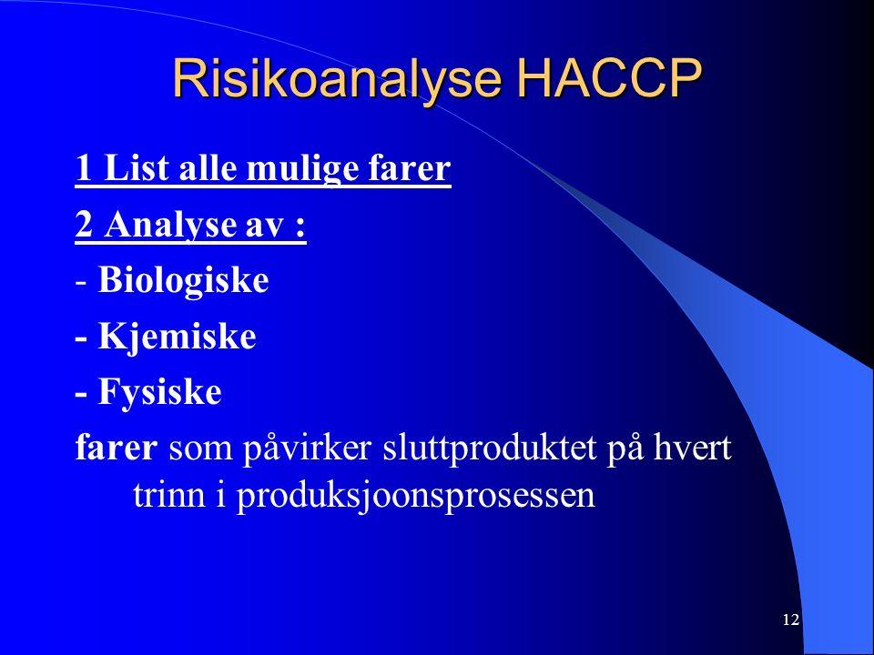 12 Risikoanalyse HACCP 1 List alle mulige farer 2 Analyse av : - Biologiske - Kjemiske - Fysiske farer som påvirker sluttproduktet på hvert trinn i produksjoonsprosessen