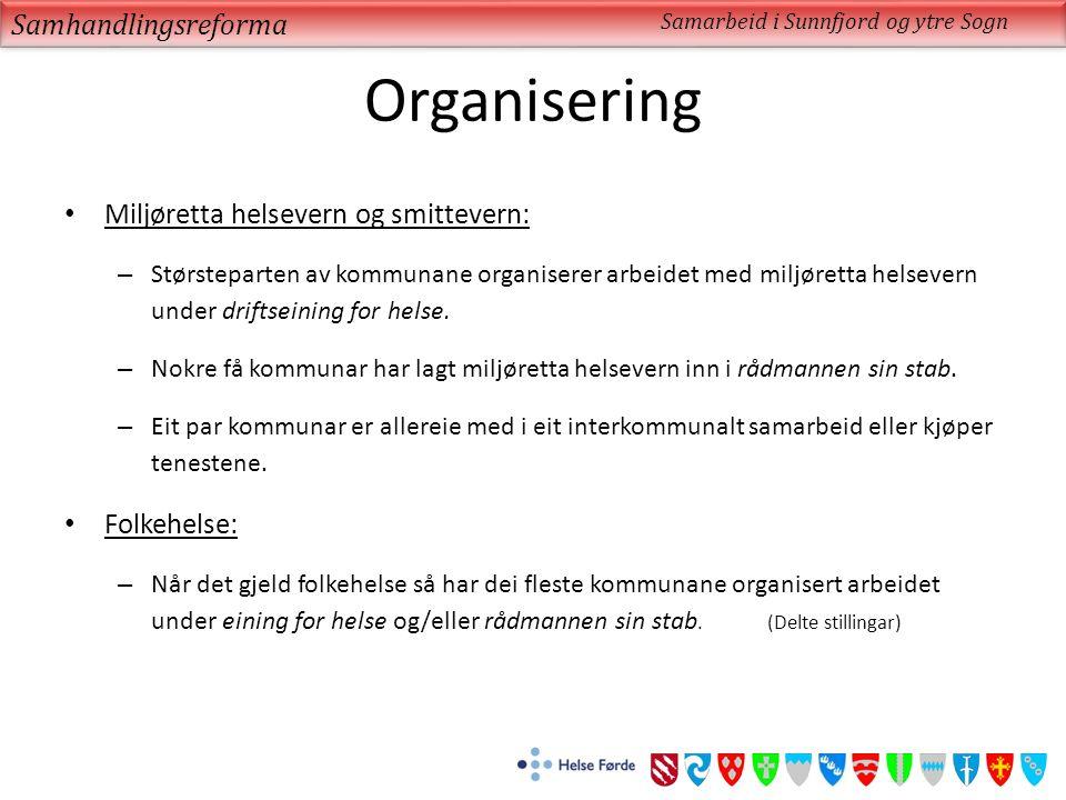 Organisering Miljøretta helsevern og smittevern: – Størsteparten av kommunane organiserer arbeidet med miljøretta helsevern under driftseining for helse.