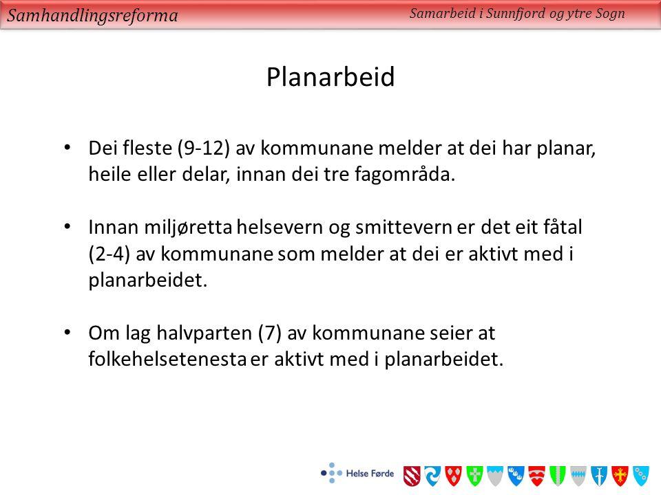 Planarbeid Samhandlingsreforma Samarbeid i Sunnfjord og ytre Sogn Dei fleste (9-12) av kommunane melder at dei har planar, heile eller delar, innan dei tre fagområda.