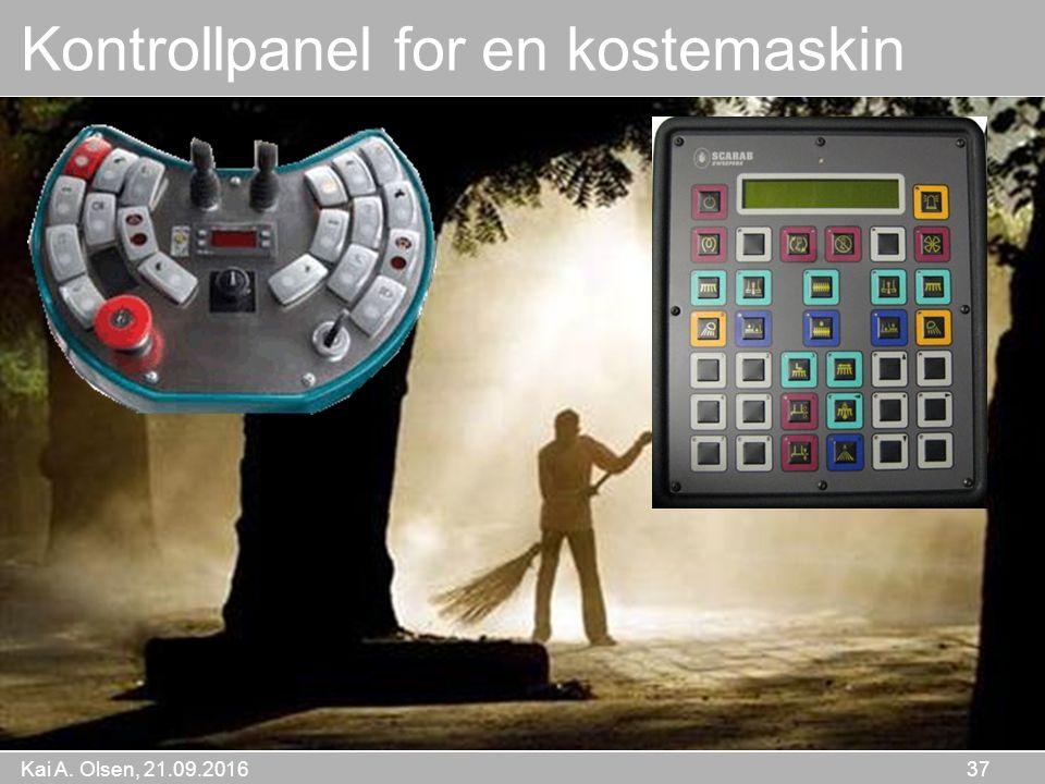 Kai A. Olsen, 21.09.2016 37 Hva er dette Kontrollpanel for en kostemaskin