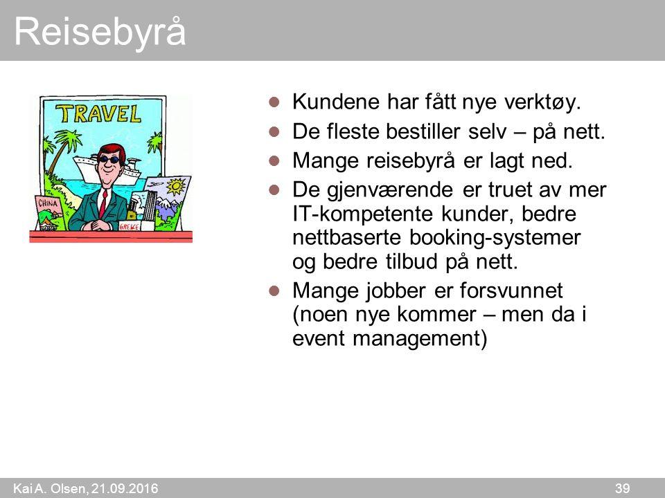 Kai A. Olsen, 21.09.2016 39 Reisebyrå Kundene har fått nye verktøy.