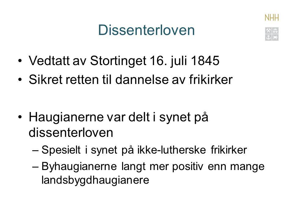 Dissenterloven Vedtatt av Stortinget 16.