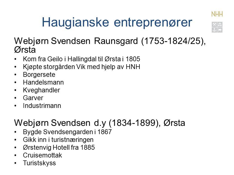 Haugianske entreprenører Webjørn Svendsen Raunsgard (1753-1824/25), Ørsta Kom fra Geilo i Hallingdal til Ørsta i 1805 Kjøpte storgården Vik med hjelp av HNH Borgersete Handelsmann Kveghandler Garver Industrimann Webjørn Svendsen d.y (1834-1899), Ørsta Bygde Svendsengarden i 1867 Gikk inn i turistnæringen Ørstenvig Hotell fra 1885 Cruisemottak Turistskyss