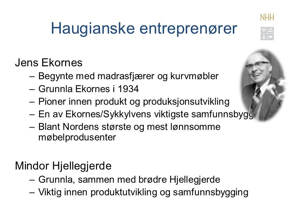 Haugianske entreprenører Jens Ekornes –Begynte med madrasfjærer og kurvmøbler –Grunnla Ekornes i 1934 –Pioner innen produkt og produksjonsutvikling –En av Ekornes/Sykkylvens viktigste samfunnsbyggere –Blant Nordens største og mest lønnsomme møbelprodusenter Mindor Hjellegjerde –Grunnla, sammen med brødre Hjellegjerde –Viktig innen produktutvikling og samfunnsbygging