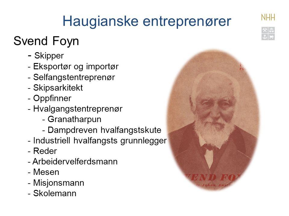 Haugianske entreprenører Svend Foyn - Skipper - Eksportør og importør - Selfangstentreprenør - Skipsarkitekt - Oppfinner - Hvalgangstentreprenør - Granatharpun - Dampdreven hvalfangstskute - Industriell hvalfangsts grunnlegger - Reder - Arbeidervelferdsmann - Mesen - Misjonsmann - Skolemann 31