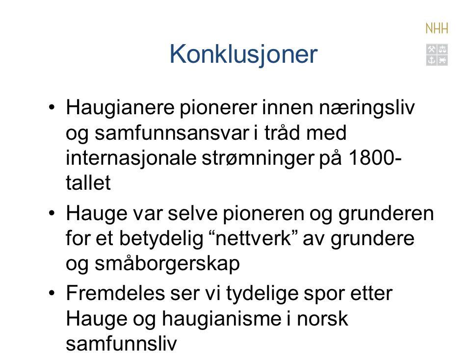 Konklusjoner Haugianere pionerer innen næringsliv og samfunnsansvar i tråd med internasjonale strømninger på 1800- tallet Hauge var selve pioneren og grunderen for et betydelig nettverk av grundere og småborgerskap Fremdeles ser vi tydelige spor etter Hauge og haugianisme i norsk samfunnsliv