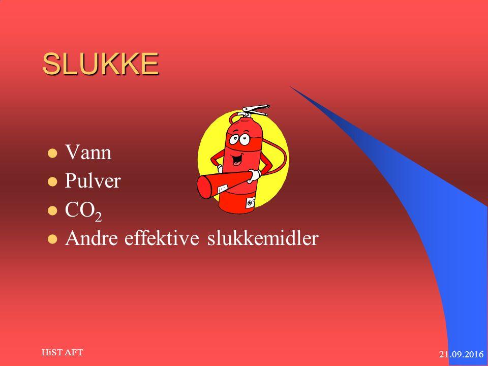 21.09.2016 HiST AFT SLUKKE Vann Pulver CO 2 Andre effektive slukkemidler