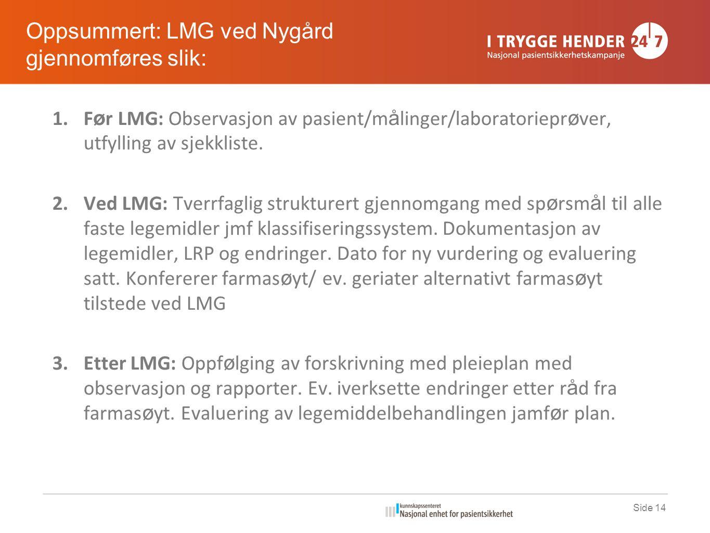 Side 14 1.F ø r LMG: Observasjon av pasient/m å linger/laboratoriepr ø ver, utfylling av sjekkliste.