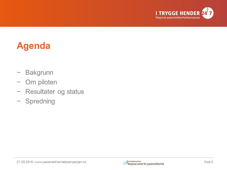 Agenda −Bakgrunn −Om piloten −Resultater og status −Spredning 21.09.2016 - www.pasientsikkerhetskampanjen.noSide 3