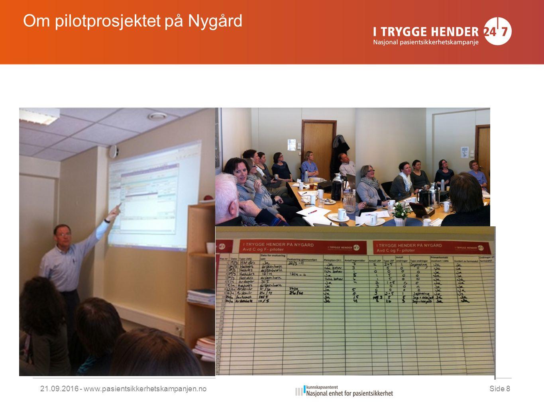 21.09.2016 - www.pasientsikkerhetskampanjen.noSide 8 Om pilotprosjektet på Nygård