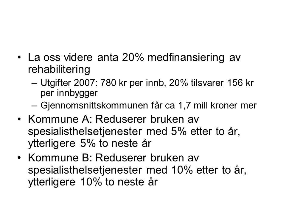 La oss videre anta 20% medfinansiering av rehabilitering –Utgifter 2007: 780 kr per innb, 20% tilsvarer 156 kr per innbygger –Gjennomsnittskommunen få