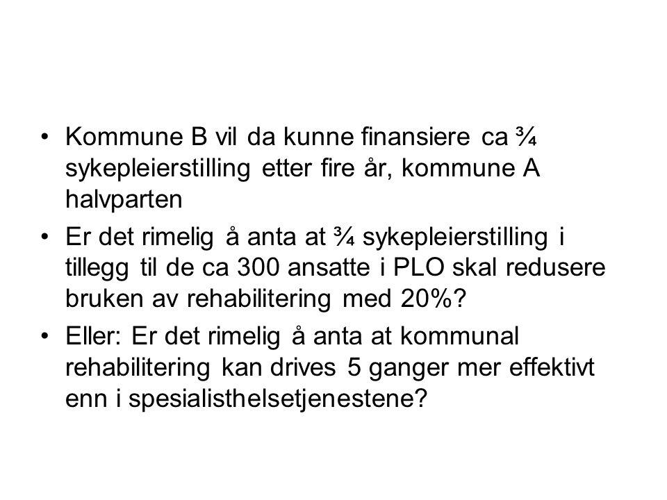 Kommune B vil da kunne finansiere ca ¾ sykepleierstilling etter fire år, kommune A halvparten Er det rimelig å anta at ¾ sykepleierstilling i tillegg til de ca 300 ansatte i PLO skal redusere bruken av rehabilitering med 20%.