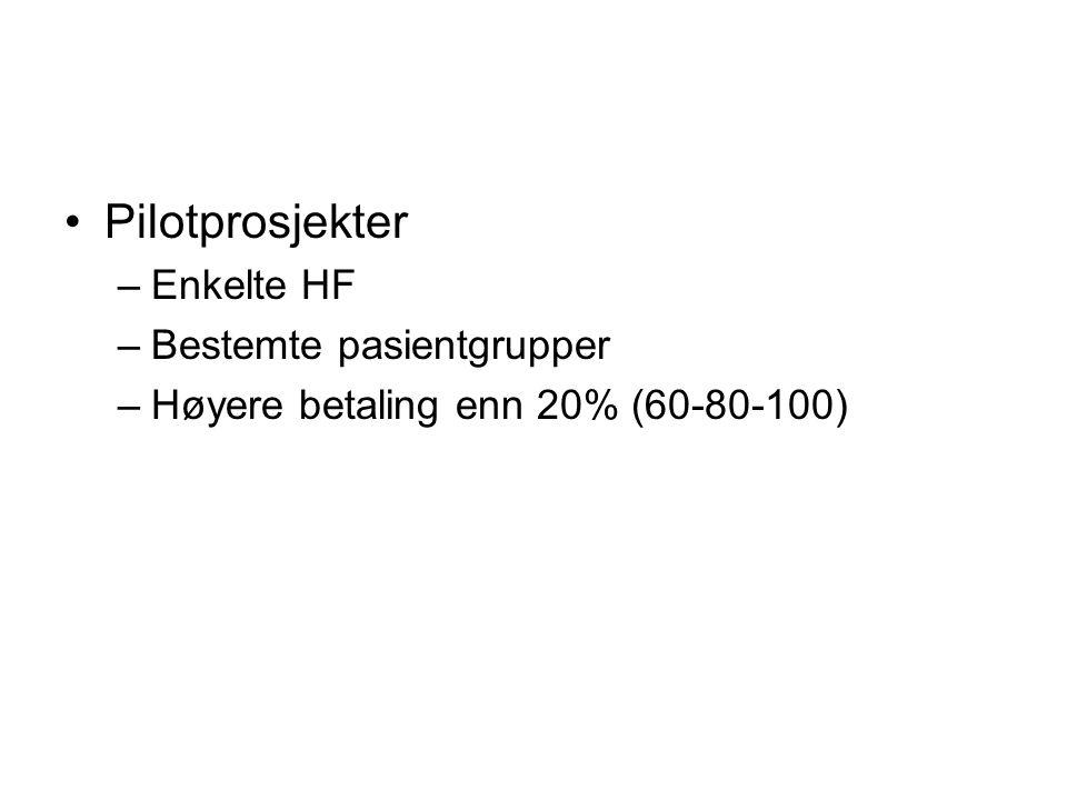 Pilotprosjekter –Enkelte HF –Bestemte pasientgrupper –Høyere betaling enn 20% (60-80-100)