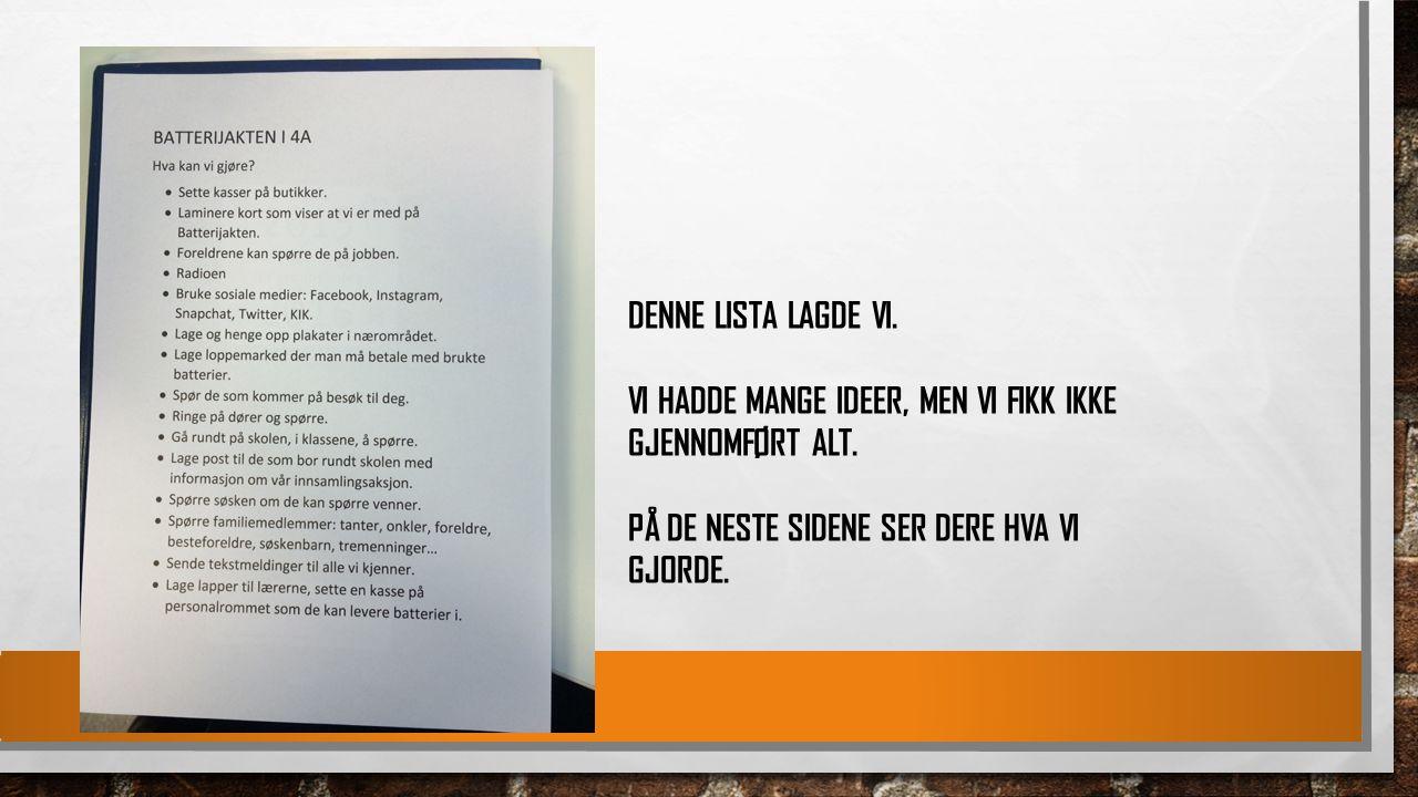 DENNE LISTA LAGDE VI. VI HADDE MANGE IDEER, MEN VI FIKK IKKE GJENNOMFØRT ALT.