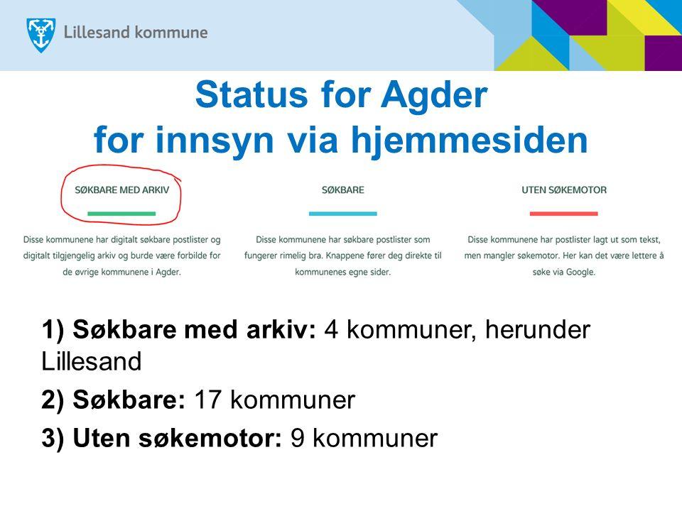 Status for Agder for innsyn via hjemmesiden 1) Søkbare med arkiv: 4 kommuner, herunder Lillesand 2) Søkbare: 17 kommuner 3) Uten søkemotor: 9 kommuner