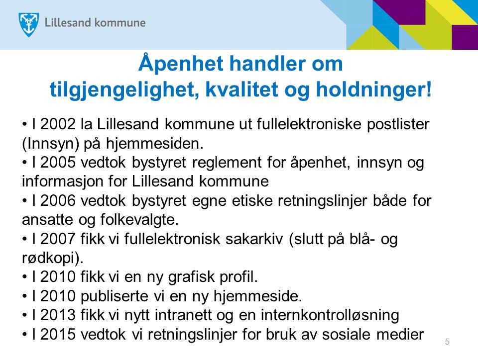 5 Åpenhet handler om tilgjengelighet, kvalitet og holdninger! I 2002 la Lillesand kommune ut fullelektroniske postlister (Innsyn) på hjemmesiden. I 20