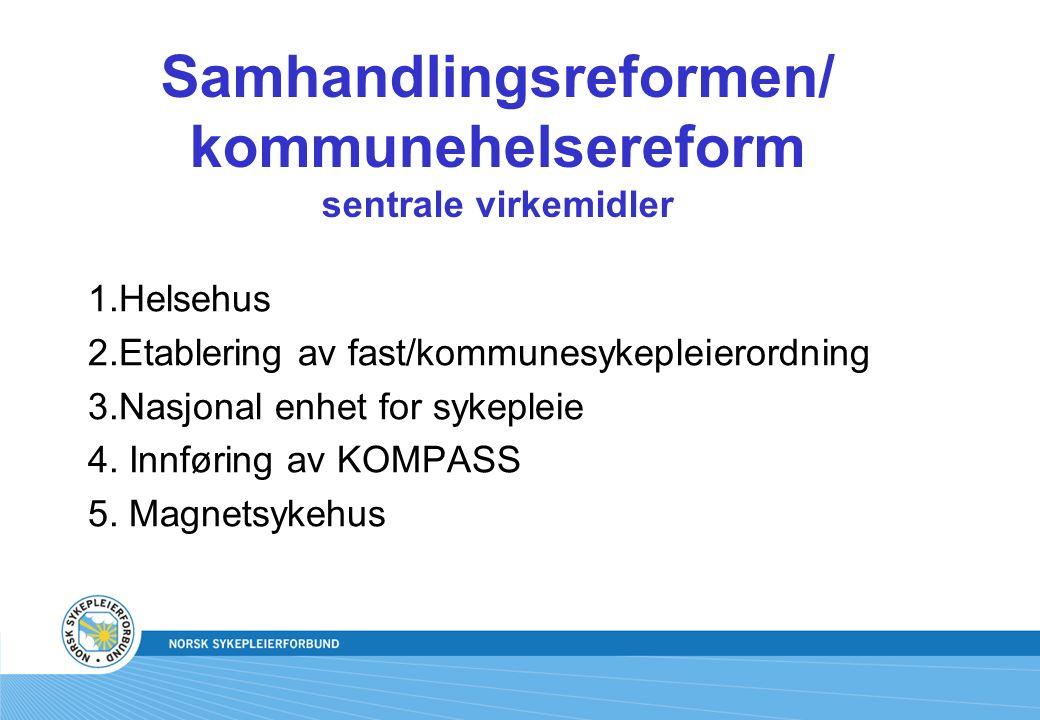 Samhandlingsreformen/ kommunehelsereform sentrale virkemidler 1.Helsehus 2.Etablering av fast/kommunesykepleierordning 3.Nasjonal enhet for sykepleie 4.