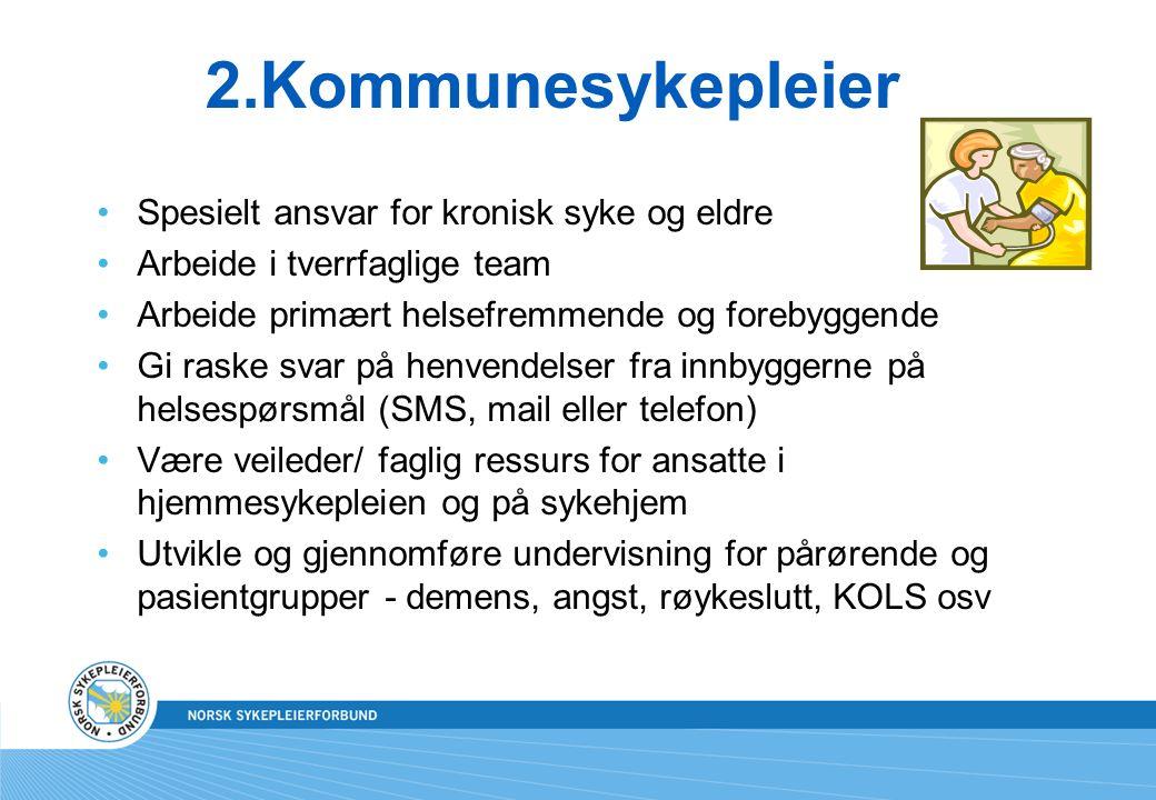 2.Kommunesykepleier Spesielt ansvar for kronisk syke og eldre Arbeide i tverrfaglige team Arbeide primært helsefremmende og forebyggende Gi raske svar på henvendelser fra innbyggerne på helsespørsmål (SMS, mail eller telefon) Være veileder/ faglig ressurs for ansatte i hjemmesykepleien og på sykehjem Utvikle og gjennomføre undervisning for pårørende og pasientgrupper - demens, angst, røykeslutt, KOLS osv