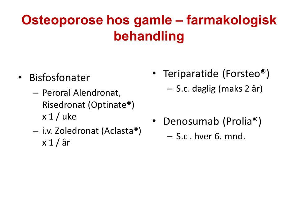Osteoporose hos gamle – farmakologisk behandling Bisfosfonater – Peroral Alendronat, Risedronat (Optinate®) x 1 / uke – i.v. Zoledronat (Aclasta®) x 1