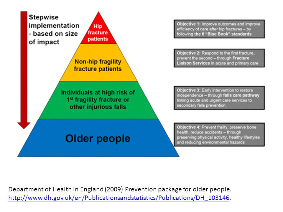 Department of Health in England (2009) Prevention package for older people.