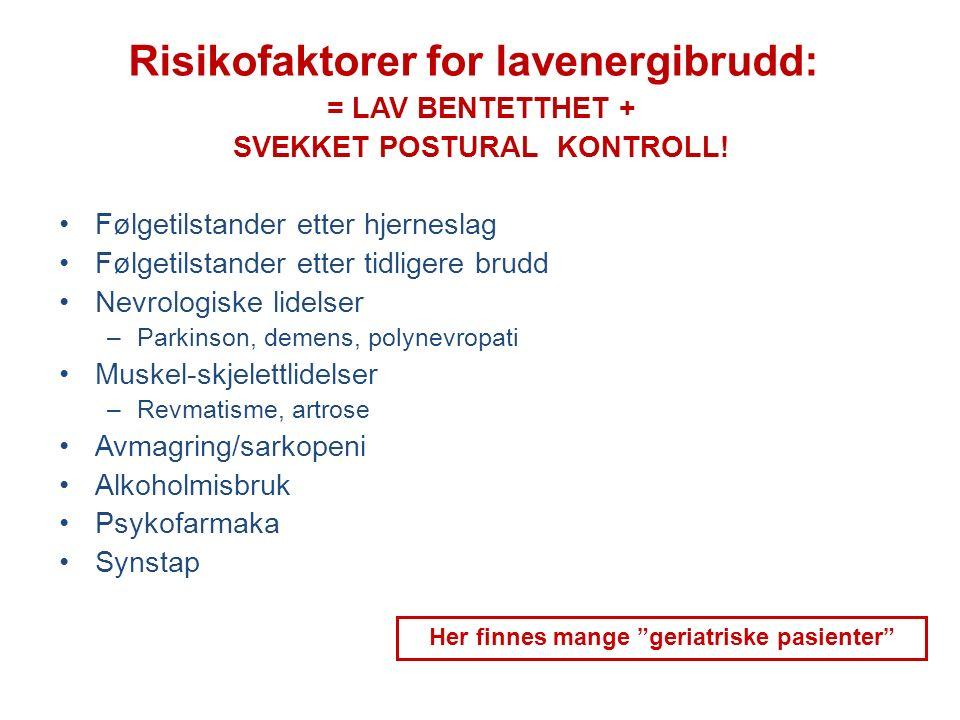 Risikofaktorer for lavenergibrudd: = LAV BENTETTHET + SVEKKET POSTURAL KONTROLL! Følgetilstander etter hjerneslag Følgetilstander etter tidligere brud