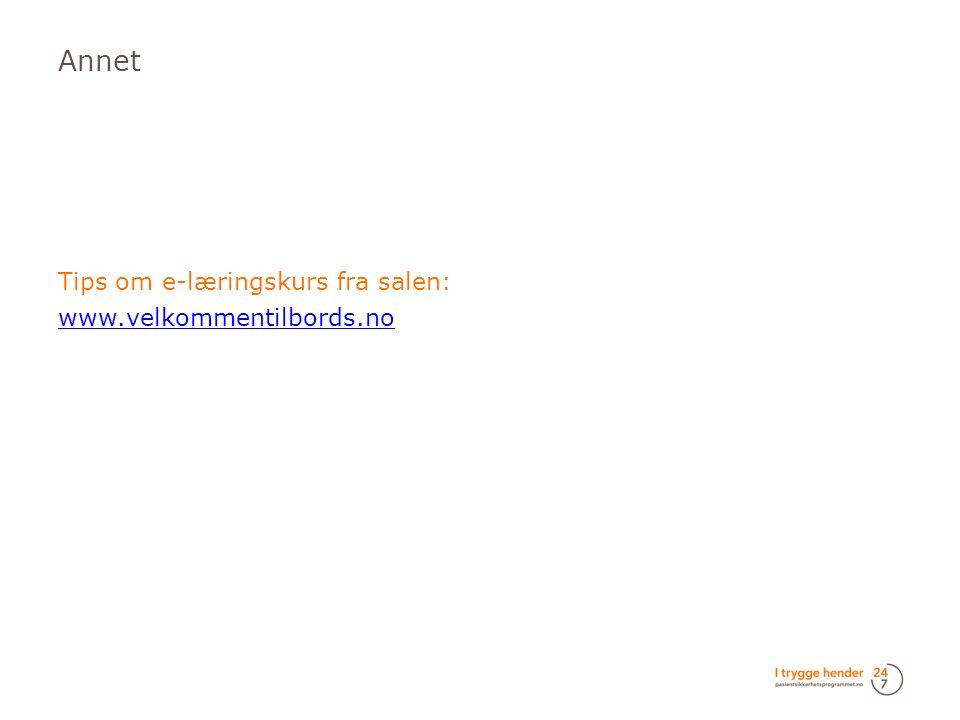 Annet  Tips om e-læringskurs fra salen:  www.velkommentilbords.no www.velkommentilbords.no