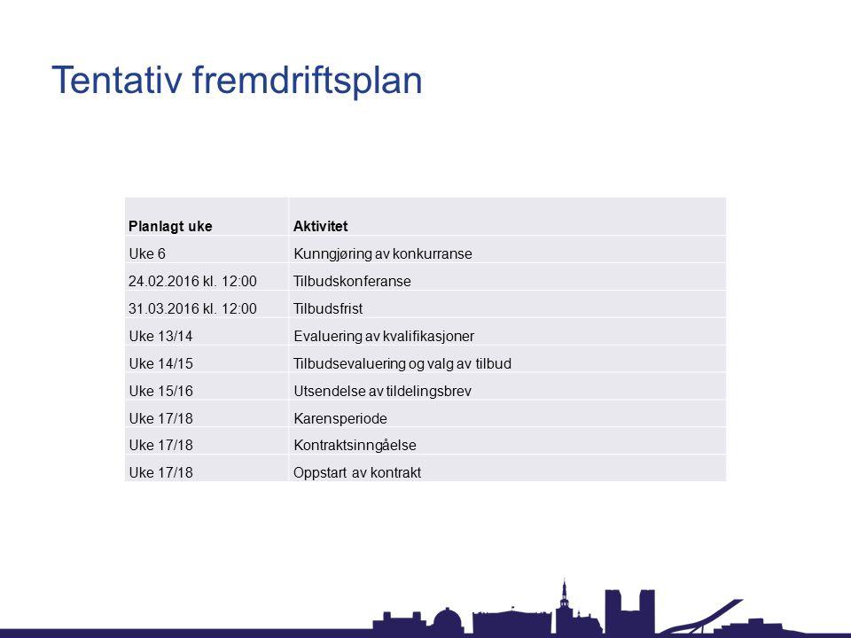 Tentativ fremdriftsplan Planlagt ukeAktivitet Uke 6Kunngjøring av konkurranse 24.02.2016 kl.