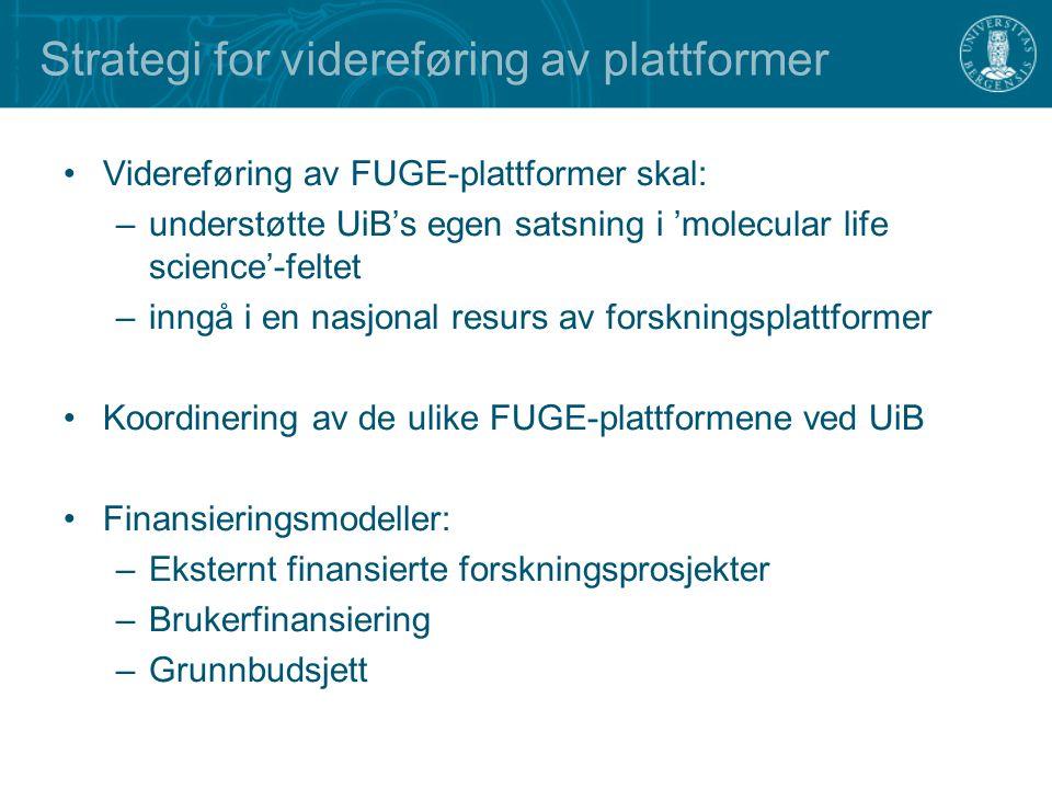 Strategi for videreføring av plattformer Videreføring av FUGE-plattformer skal: –understøtte UiB's egen satsning i 'molecular life science'-feltet –inngå i en nasjonal resurs av forskningsplattformer Koordinering av de ulike FUGE-plattformene ved UiB Finansieringsmodeller: –Eksternt finansierte forskningsprosjekter –Brukerfinansiering –Grunnbudsjett