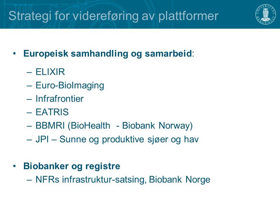 Strategi for videreføring av plattformer Europeisk samhandling og samarbeid: –ELIXIR –Euro-BioImaging –Infrafrontier –EATRIS –BBMRI (BioHealth - Biobank Norway) –JPI – Sunne og produktive sjøer og hav Biobanker og registre –NFRs infrastruktur-satsing, Biobank Norge