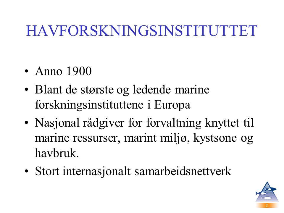 2 2 HAVFORSKNINGSINSTITUTTET Anno 1900 Blant de største og ledende marine forskningsinstituttene i Europa Nasjonal rådgiver for forvaltning knyttet til marine ressurser, marint miljø, kystsone og havbruk.