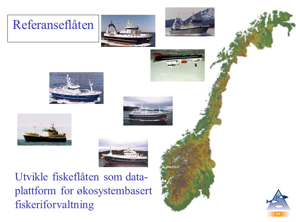 24 Referanseflåten Utvikle fiskeflåten som data- plattform for økosystembasert fiskeriforvaltning