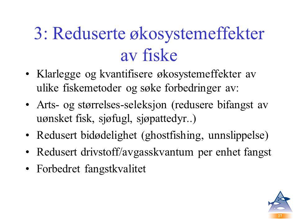 27 3: Reduserte økosystemeffekter av fiske Klarlegge og kvantifisere økosystemeffekter av ulike fiskemetoder og søke forbedringer av: Arts- og størrelses-seleksjon (redusere bifangst av uønsket fisk, sjøfugl, sjøpattedyr..) Redusert bidødelighet (ghostfishing, unnslippelse) Redusert drivstoff/avgasskvantum per enhet fangst Forbedret fangstkvalitet