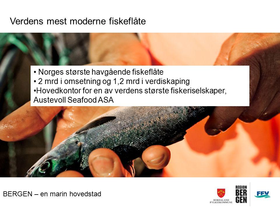 BERGEN – en marin hovedstad Verdens mest moderne fiskeflåte Norges største havgående fiskeflåte 2 mrd i omsetning og 1,2 mrd i verdiskaping Hovedkonto