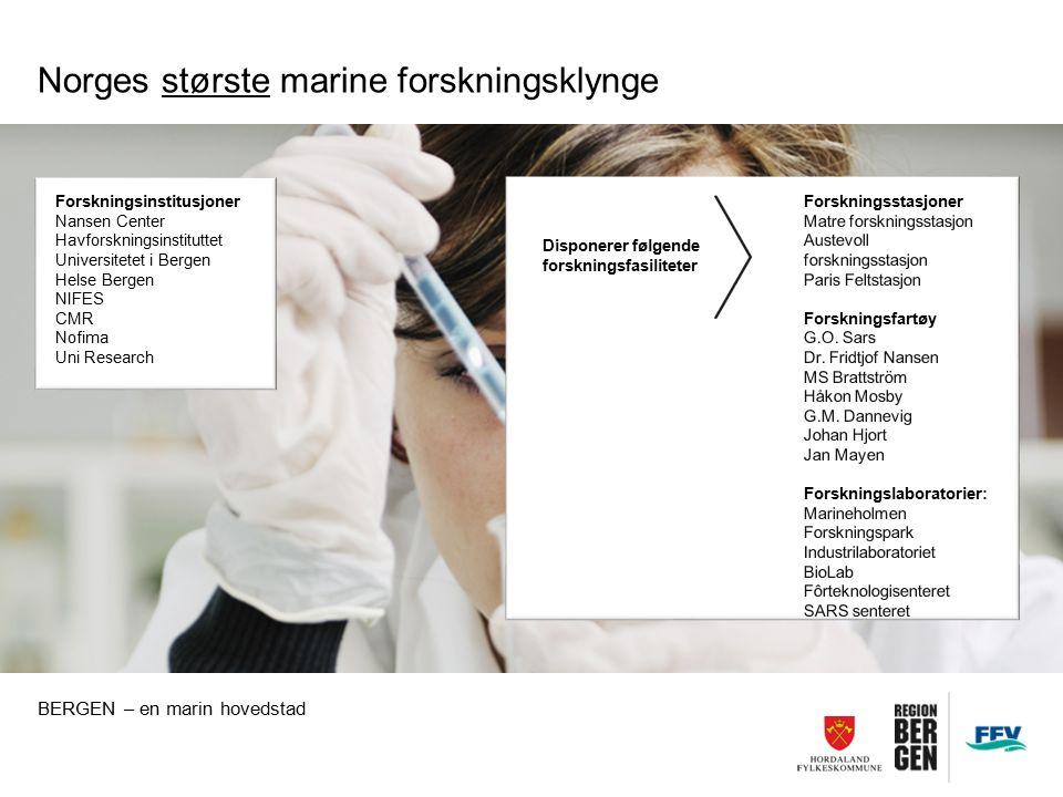 Norges største marine forskningsklynge BERGEN – en marin hovedstad Forskningsinstitusjoner Nansen Center Havforskningsinstituttet Universitetet i Bergen Helse Bergen NIFES CMR Nofima Uni Research Disponerer følgende forskningsfasiliteter