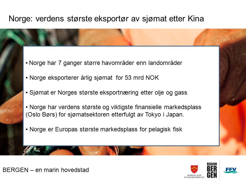 Norge: verdens største eksportør av sjømat etter Kina Norge har 7 ganger større havområder enn landområder Norge eksporterer årlig sjømat for 53 mrd NOK Sjømat er Norges største eksportnæring etter olje og gass Norge har verdens største og viktigste finansielle markedsplass (Oslo Børs) for sjømatsektoren etterfulgt av Tokyo i Japan.