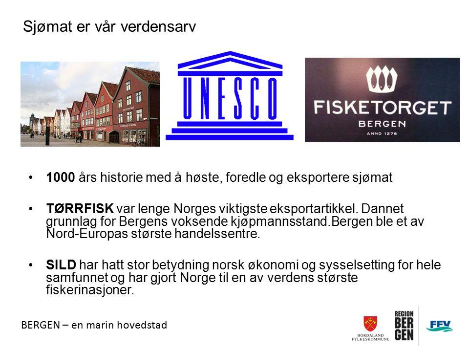1000 års historie med å høste, foredle og eksportere sjømat TØRRFISK var lenge Norges viktigste eksportartikkel. Dannet grunnlag for Bergens voksende