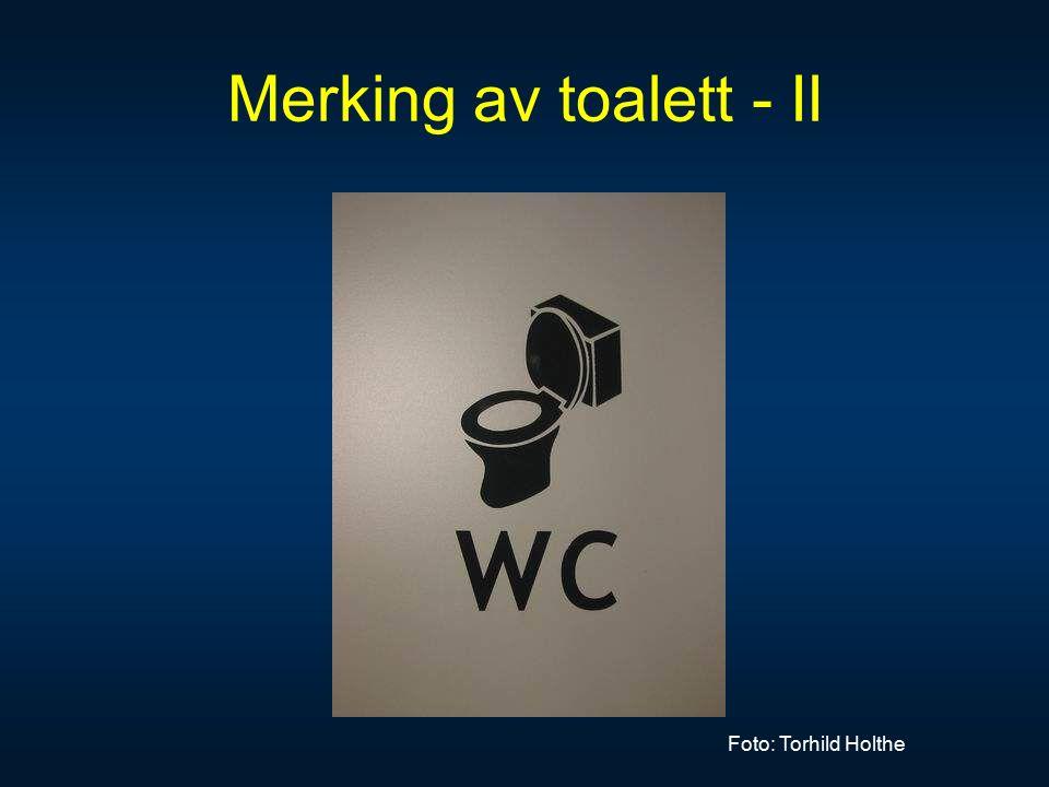 Merking av toalett - II Foto: Torhild Holthe