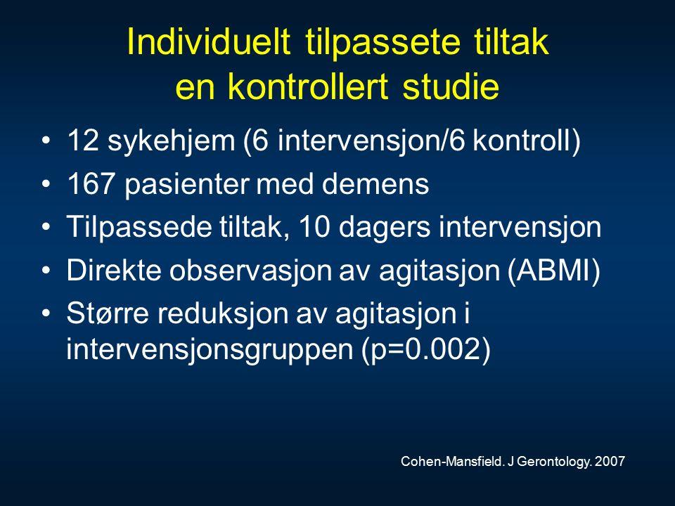 Individuelt tilpassete tiltak en kontrollert studie 12 sykehjem (6 intervensjon/6 kontroll) 167 pasienter med demens Tilpassede tiltak, 10 dagers intervensjon Direkte observasjon av agitasjon (ABMI) Større reduksjon av agitasjon i intervensjonsgruppen (p=0.002) Cohen-Mansfield.