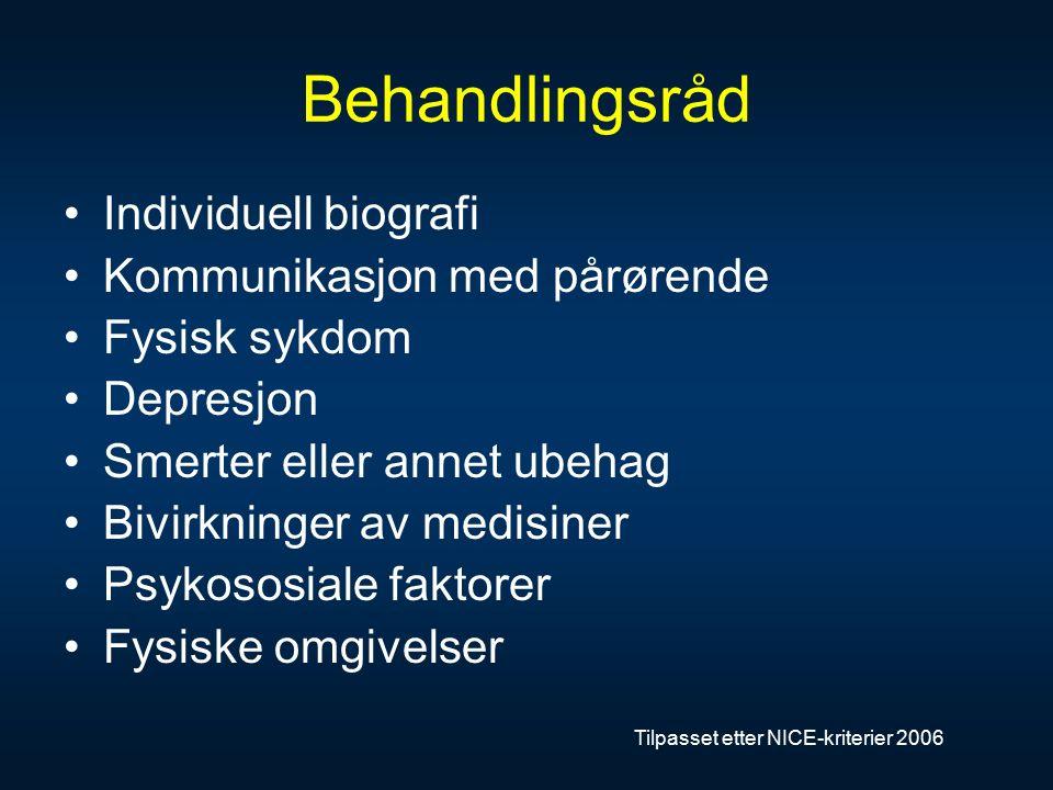 Behandlingsråd Individuell biografi Kommunikasjon med pårørende Fysisk sykdom Depresjon Smerter eller annet ubehag Bivirkninger av medisiner Psykososiale faktorer Fysiske omgivelser Tilpasset etter NICE-kriterier 2006