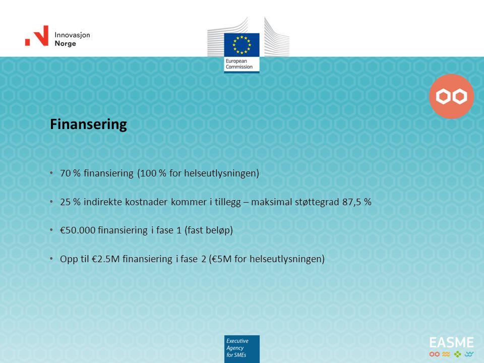 70 % finansiering (100 % for helseutlysningen) 25 % indirekte kostnader kommer i tillegg – maksimal støttegrad 87,5 % €50.000 finansiering i fase 1 (fast beløp) Opp til €2.5M finansiering i fase 2 (€5M for helseutlysningen) Finansering
